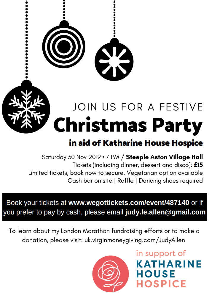 Christmas party in aid of Katharine House Hospice